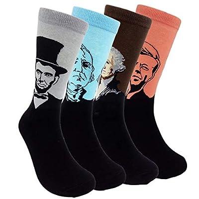 HSELL Mens Funny US Presidents Patterned Dress Socks Unisex Fun Novelty Lincoln/Abraham Lincoln/John F. Kennedy(JFK)/Thomas Jefferson/ George Washington Art Sock Fancy Gifts for Men Women 4-Pack