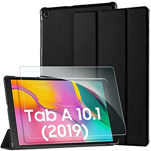 EasyAcc Custodia Compatibile con Samsung Galaxy Tab A 10.1 2019 con Vetro Temperato -Ultra Sottile con Cover Leggero Supporto in Pelle PU Case per Tablet Samsung Tab A T510/T515 10.1 2019, Nero