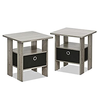Furinno 2-11157GYW Petite Night Stand, French Oak Grey/Black