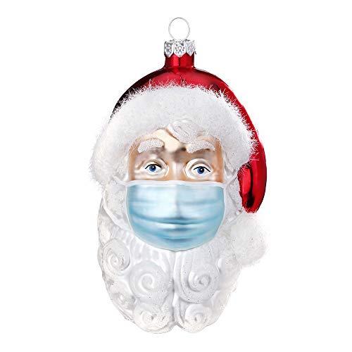Christbaumschmuck Santa mit Maske aus Glas 10cm Weihnachtskugeln Figuren Winterdeko