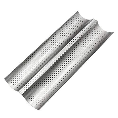 FENGLI Bandeja de horno de 2 surcos, de acero al carbono, antiadherente, perforada, para baguette (color: plata)