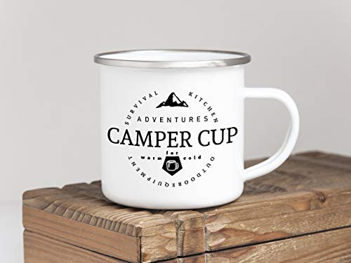 Interluxe EMAILLE Becher Retro Tasse Camper Cup Geschenk Camping Wohnwagen Vanlife Bully Mug