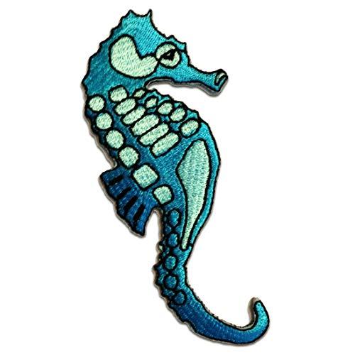 Seepferd Seepferdchen - Aufnäher, Bügelbild, Aufbügler, Applikationen, Patches, Flicken, zum aufbügeln, Größe: 4,5 x 10,4 cm