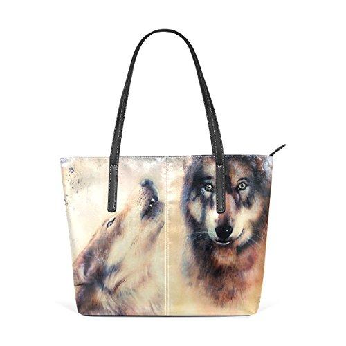 COOSUN Heulen Wolfs Airbrush Malerei PU Leder Schultertasche Handtasche und Handtaschen Tasche für Frauen