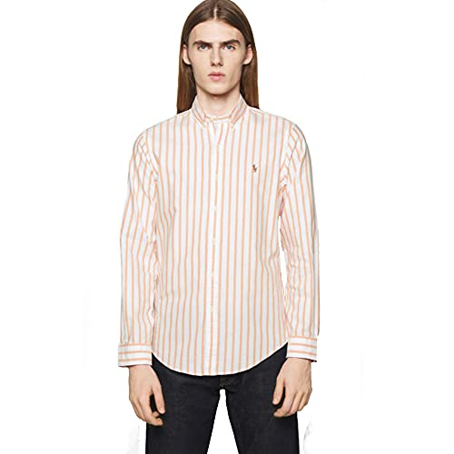 Polo Ralph Lauren Camisa Oxford Slim Fit a Rayas (M, Pink/White)