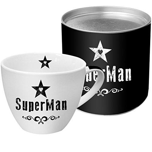 PPD SuperMan Black Porzellantasse, Kaffetasse, Kaffee Becher, Kaffeebecher, New Bone China, Weiß / Schwarz, 450 ml, 603024