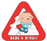 Haberdashery Online Pegatina Adhesiva Bebé a Bordo. Adhesivo vinilo para coche o moto. 15 x 13'7 cm. (1. Niño)