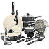 GreenLife Soft Grip Healthy Ceramic Nonstick, Cookware Pots and Pans Set, 16 Piece, Black & Cream
