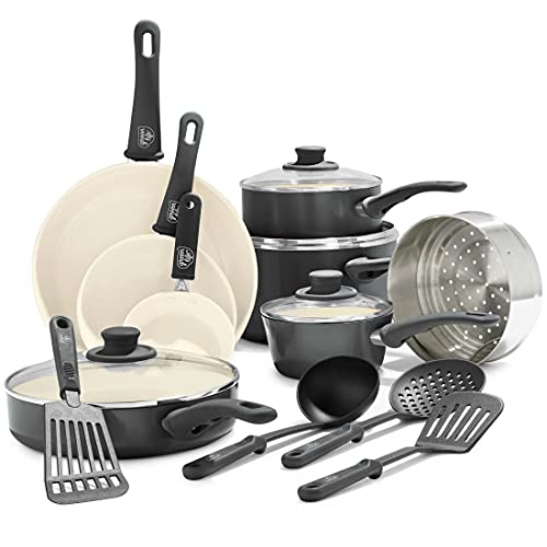 GreenLife Soft Grip Healthy Ceramic Nonstick, Cookware Pots and Pans...