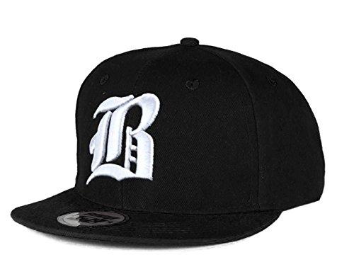 Cappello da baseball, chiusura posteriore regolabile, motivo 3D: B gotica in rilievo, da hip-hop multicolore B Black White Regular