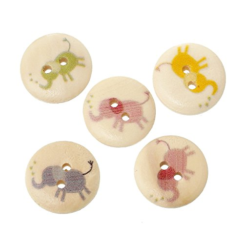 Sadingo houten knopen olifanten, kinderknopen - 10 stuks - 1,8 cm - willekeurige mix - knutselknoppen, decoratieve knoppen, knopen hout