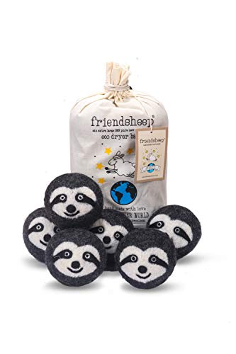 Friendsheep Wool Dryer Balls 6 Pack XL Organic Premium Reusable Cruelty Free Handmade Fair Trade No Lint Fabric Softener Gray Sloth - Sloth Squad