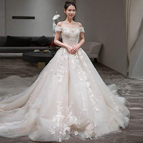 LILANPING Wedding Dress - Braut Dream Luxury Long Tail Luxus Extravagant Boden Schulter Französisch Brautkleid (Size : S)