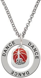 Silvertone Red Enamel Firefighter Helmet - Dance Affirmation Ring Necklace