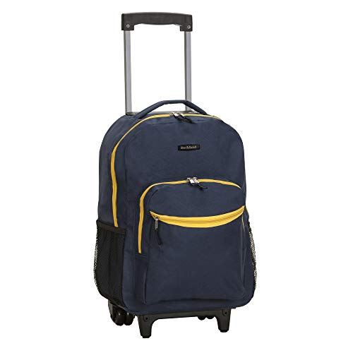 Rockland Double Handle Rolling Backpack, Navy, 17-Inch