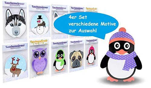 Pullach Hof 4 Stück Taschenwärmer Handwärmer in verschiedenen Motiven wählbar Hot Pack im Design Hund Katz, Pinguin, Eule oder Winter Motiv (Eule)