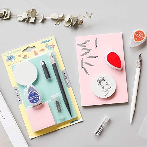 Gesneden Rubber Novice DIY Set, Water Drop Ink Pen RVS Mes, Graveren Rubber Suit, Afmetingen: 19.5 * 12cm. Goed uitziende