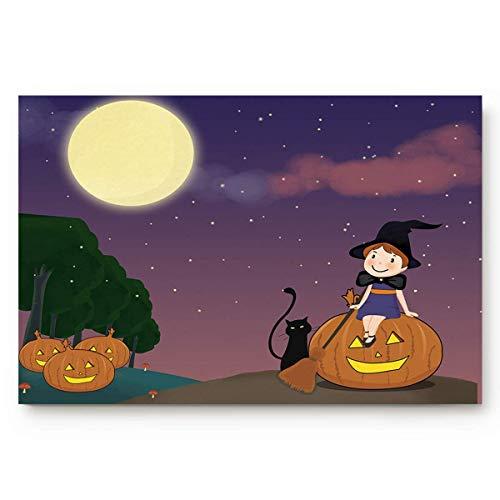 LnimioAOX Fußmatte Halloween Vollmond Nacht Home Decor Fußmatten Indoor Küchenteppiche rutschfeste Badezimmerteppiche Wasserabsorbierender Badteppich