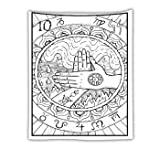 KHKJ Tapiz de Tarot para Colgar en la Pared The Moon The Star Tapices Manta Colcha Toallas de Playa Estera de Picnic A20 73x95cm