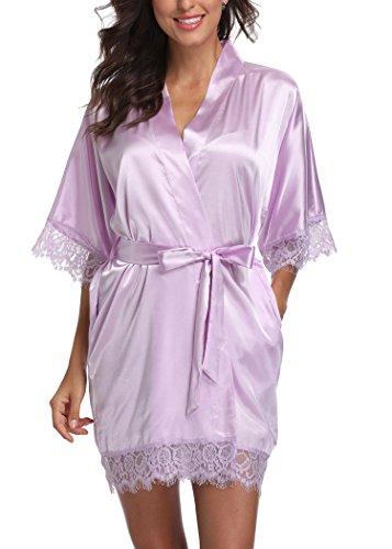 Short Satin Kimono Robes Women Pure Color Bridemaids Bath Robe with Lace Trim,Light Purple L
