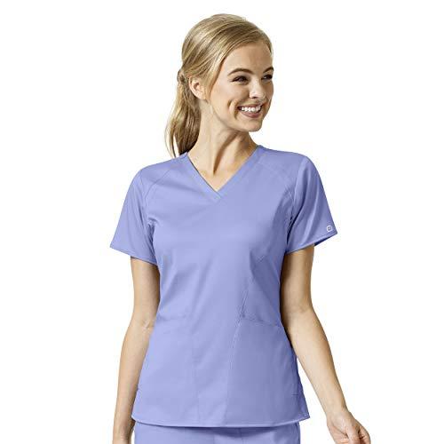 WonderWink 'Women's 4 Pocket V-Neck Top' Scrub Top Ceil Blue XX-Small