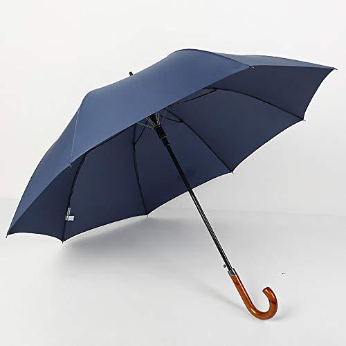 Handparaplu, recht, houten handvat, scherm, 8 lang, beengreep, business golfscherm