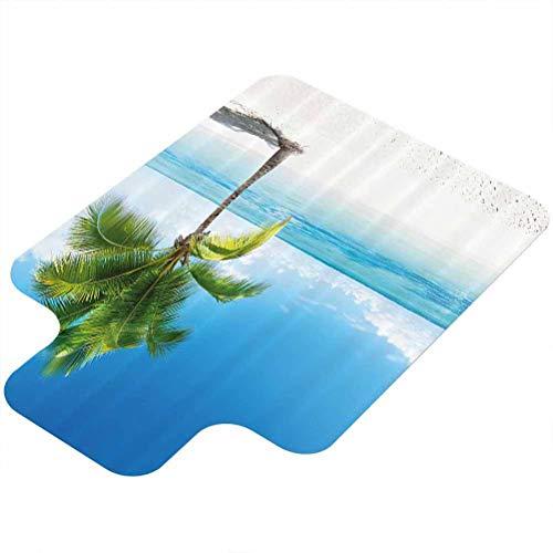 Alfombra para silla de ordenador, diseño de palmeras de mar de la isla de la playa de las Maldivas del Caribe, de 91 x 122 cm, alfombra de oficina de pelo bajo, azul cielo, verde y blanco
