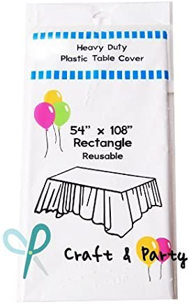 """Evershine (12-Pack) Heavy Duty Plastic Table Covers Tablecloth (Reusable) (Rectangle 54"""" X 108"""", White)"""