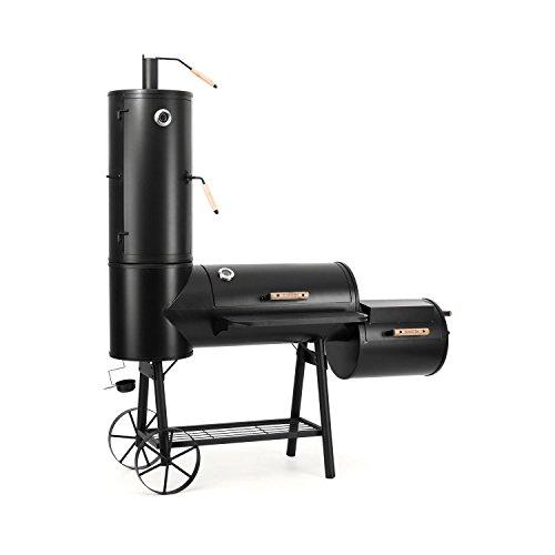 Klarstein Monstertruck - Smoker, Holzkohlegrill, BBQ-Ofen, 2 Brennkammern, 2 Thermometer, Räucherturm, Holzgriffe, Ablage, 4 Ebenen, Ölauffangschale, Ascherost, Stahl, 2 Räder, schwarz