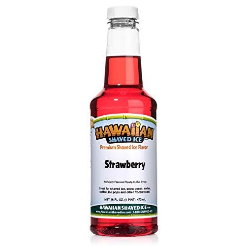 Hawaiian Shaved Ice Syrup, Strawberry, Pint