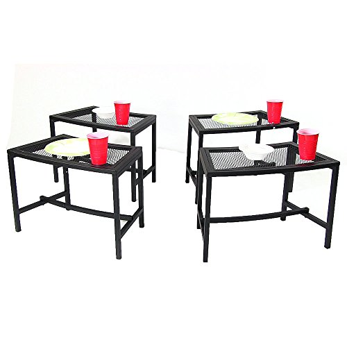 Sunnydaze Black Metal Mesh Patio Side Table - Lightweight and Portable Outdoor Furniture - Heavy Duty Modern Camp Fire or Fire Pit End Table - 23-Inch - Set of 4 Tables