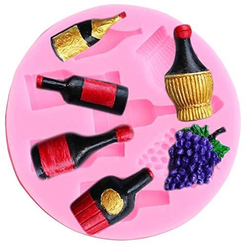 CVBGF Vino-Botella-Uvas-Moldes-Silicona-Bricolaje-Fiesta-Cupcake-Topper-Fondant-Herramientas-Decoración-Pasteles-Dulces-Arcilla-Chocolate