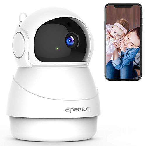 APEMAN 1080P WLAN Kamera, Überwachungskamera, IP Kamera mit 2 Wegen Audio, Bewegungserkennung, Nachtsicht für Baby / Haustier