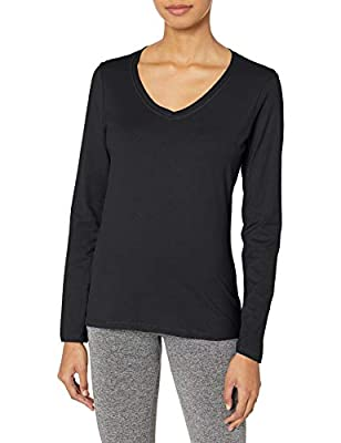 Hanes Women's V-Neck Long Sleeve Tee, Ebony, Medium