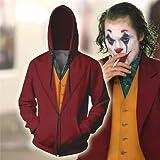 BCOGG Men Clown The Joker Sudadera con capucha de impresión en 3D Chándales casuales para hombre Película Joker Sudadera con capucha Sudadera con capucha Máscara de maquillaje Disfraz de Cosplay S J