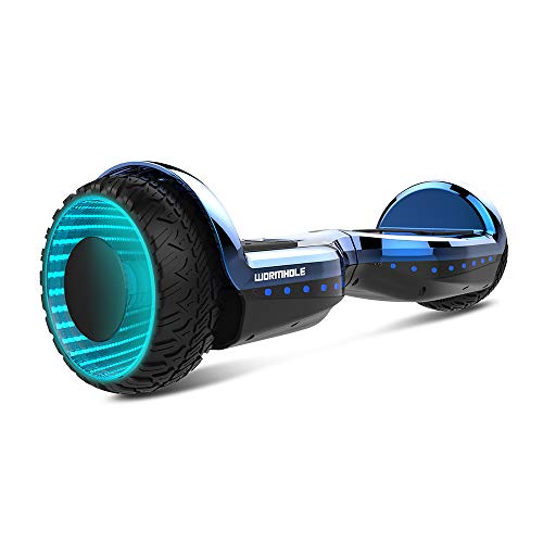 WORMHOLE Off Road Hoverboard Dual Motors Electric Self Balancing Scooter 6.5' Two Wheel Self Balancing Hoverboard with Bluetooth Speaker,Blue