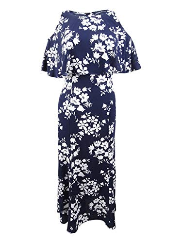 American Living Womens Cold Shoulder Floral Midi Dress Navy 2