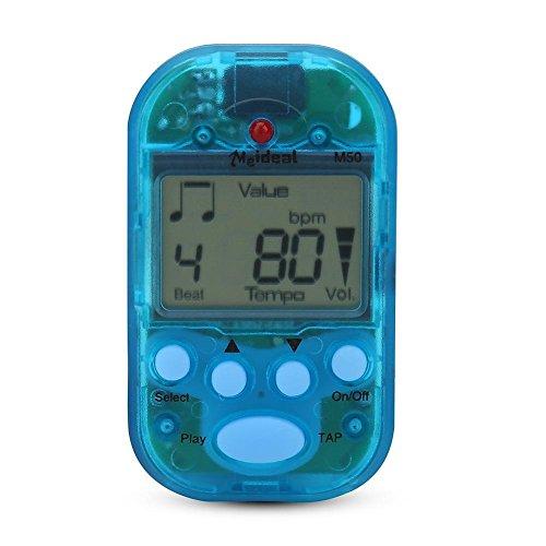 RiToEasysports Mini métronome numérique, Beat Tap M50 Clip-on Portable Clip-on Tempo Metronome Instruments de Musique Double avec Sortie Casque.(Blue)