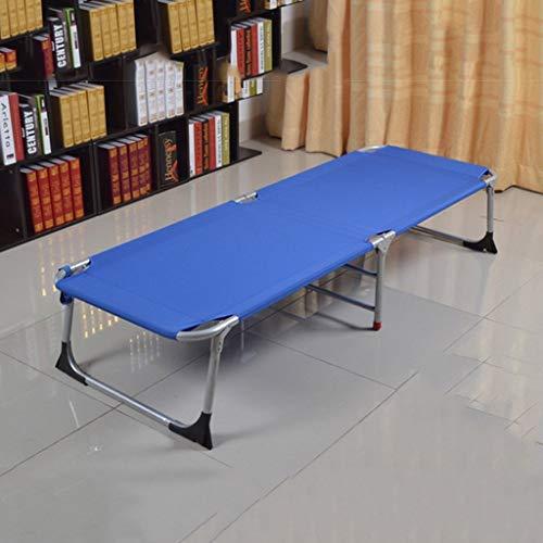 GOHHK Cama Plegable Oficina Reforzada Cama Individual Siesta Cama Siesta Cama Tela Simple Cama Camping Cama acompañante (Color: Azul)