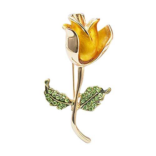 Wean Broche de novia con diseño de rosas y diamantes de imitación, para mujeres y niñas