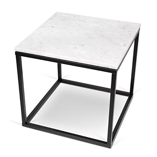 Paris Prix - Temahome - Table D'appoint 50cm Prairie Marbre Blanc & Métal Noir