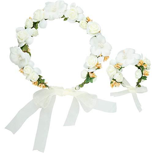 dressforfun 302796 Donna Accesorio Corona di Fiori e Bracciale Set, Bianco, Carnevale Festa