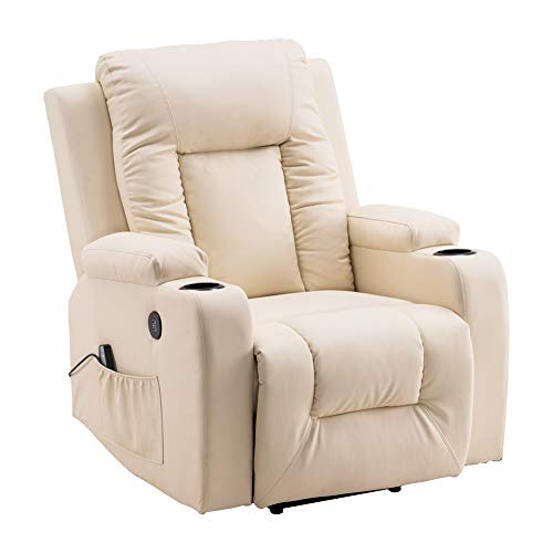 Power Lift Recliner Chair Massage PU Leather Single Sofa for Home and Living Room Theater Seating with Backrest (Beige)