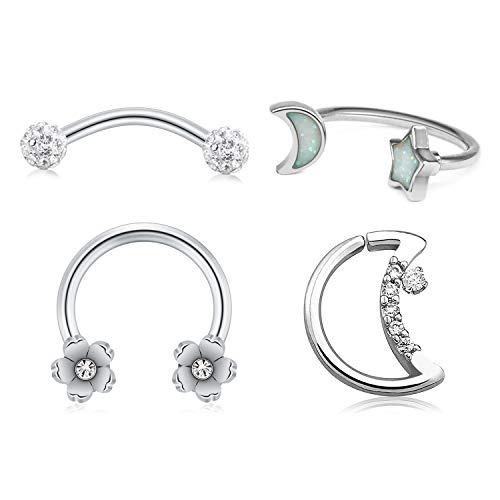 QWALIT Nose Rings Hoop Septum Jewelry 16G Surgical Steel Cartilage Helix Daith Rook Earrings Horseshoe Curved Barbell Eyebrow Piercings