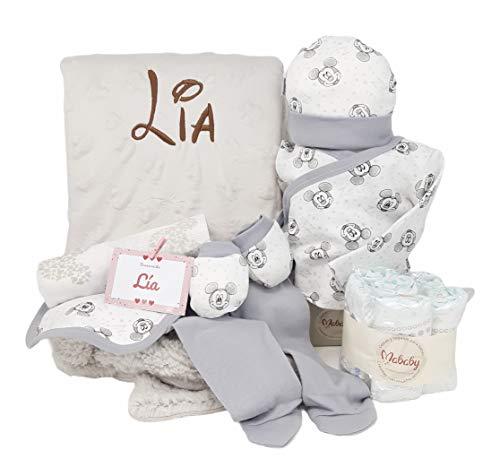 Cesta Recien Nacido Baby Disney | Set de Regalo bebé Personalizada | Canastilla con el nombre del bebé (Gris)