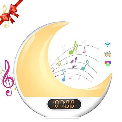 DYOYO Lámpara Despertador para Control Remoto de Luna Reloj Despertador para Niños con Radio FM,Lámpara de Noche Colorida,7 Tipos de Música,Función de Control Táctil,Lámpara LED