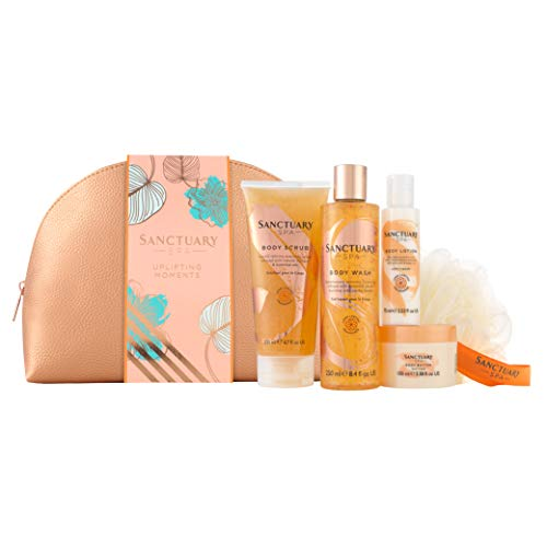 Sanctuary Spa Gift Set, Uplifting Moments Travel Wash Bag with Shower Gel, Body Scrub, Body Lotion and Body Butter, Vegan Beauty Gift, Gifts for Women Ideal Birthday Gift, Pampering Gift for Her