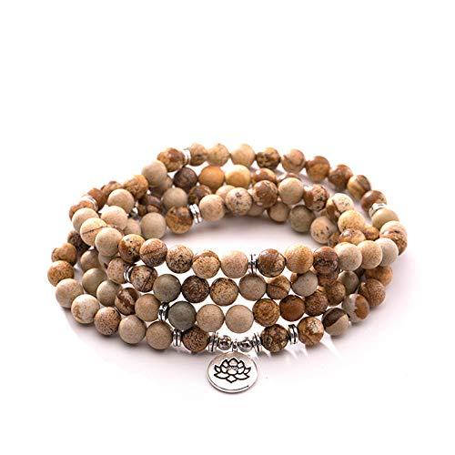 Natuurlijke stenen armband, natuursteen kralen armband 108 mode yoga energie kralen armband 8 Mm foto vintage steen trui ketting Lotus hanger elastische kraal armband sieraden gepersonaliseerde kleding A