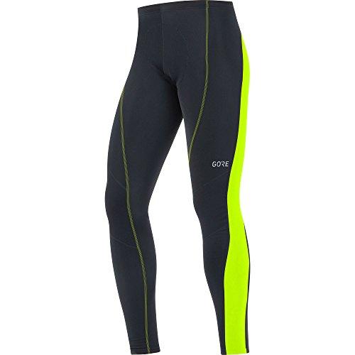 GORE Wear Atmungsaktive, lange Herren Fahhrad-Hose, Mit Sitzpolster, C3 Thermo Tights+, L, Schwarz/Neon-Gelb, 100327