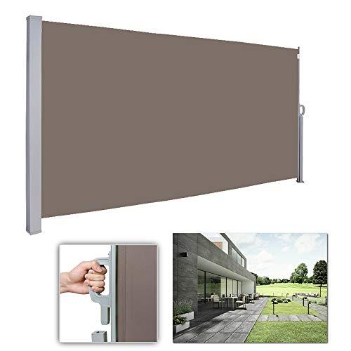 wolketon Seitenmarkise-180 x 300 cm Brau TÜV,geprüft UV,Reißfestigkeit,seitlicher Sichtschutz sichtschutz,für Balkon Terrasse ausziehbare markise